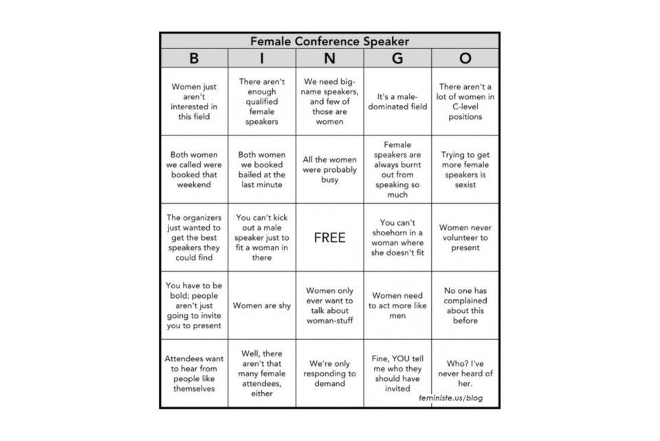Female conference speaker bingo card